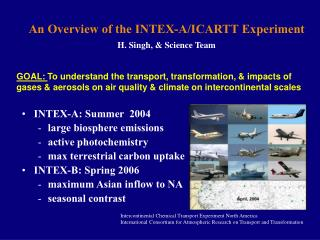 An Overview of the INTEX-A/ICARTT Experiment  H. Singh, & Science Team