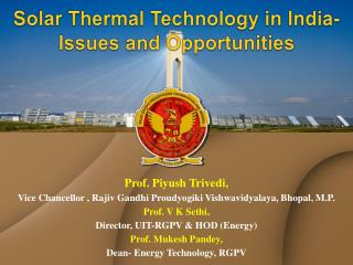 Solar Thermal Technology in India- Issues and Opportunities