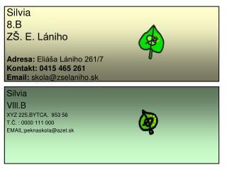 Silvia Vlll.B XYZ 225,BYTCA, 953 56 T.Č. : 0000 111 000 EMAIL:peknaskola@azet.sk