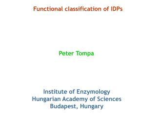 Functional classification of IDPs