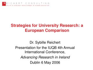Strategies for University Research: a European Comparison