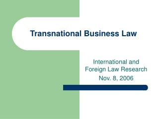 Transnational Business Law
