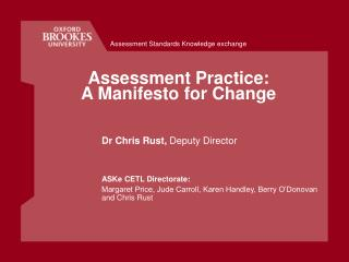 Assessment Practice: A Manifesto for Change