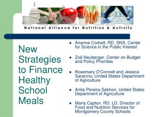 New Strategies to Finance Healthy School Meals