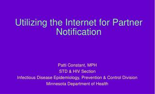 Utilizing the Internet for Partner Notification