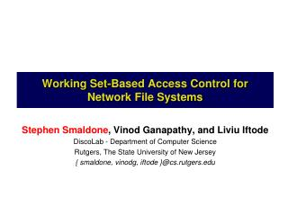 Working Set-Based Access Control for Network File Systems