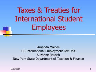 Taxes & Treaties for International Student Employees