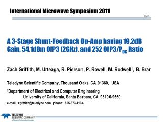 A 3-Stage Shunt-Feedback Op-Amp having 19.2dB Gain, 54.1dBm OIP3 (2GHz), and 252 OIP3/P DC  Ratio