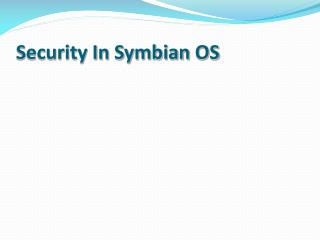 Security In  Symbian  OS