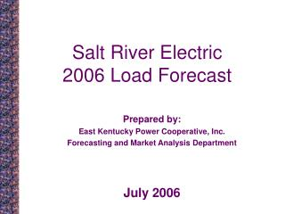 Salt River Electric 2006 Load Forecast