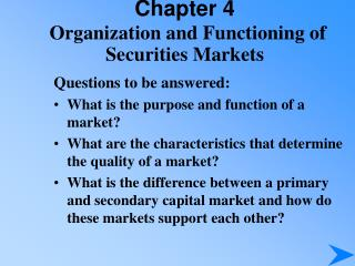 Chapter 4 Organization and Functioning of Securities Markets