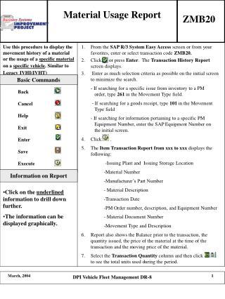 Material Usage Report