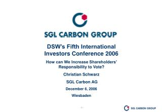DSW's Fifth International Investors Conference 2006
