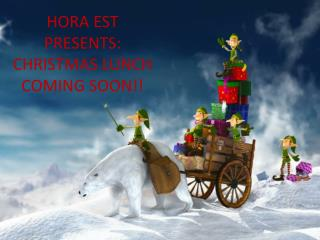 HORA EST PRESENTS: CHRISTMAS LUNCH COMING SOON!!