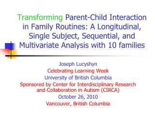 Joseph Lucyshyn Celebrating Learning Week University of British Columbia