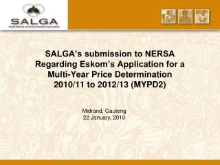 SALGA s submission to NERSA Regarding Eskom s Application for a  Multi-Year Price Determination  2010