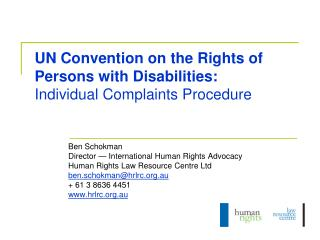 UN Convention on the Rights of Persons with Disabilities:  Individual Complaints Procedure