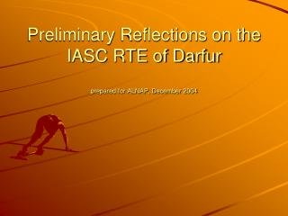 Preliminary Reflections on the IASC RTE of Darfur prepared for ALNAP, December 2004
