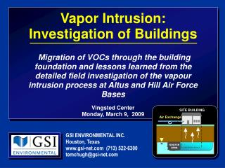 Vapor Intrusion:  Investigation of Buildings