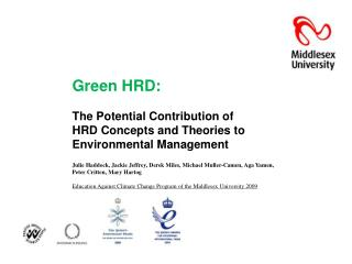 Green HRD:  The Potential Contribution of HRD Concepts and Theories to Environmental Management