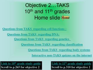 Objective 2…TAKS   10 th  and 11 th  grades    Home slide