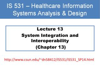 Lecture 13 System Integration and Interoperability  (Chapter 13)