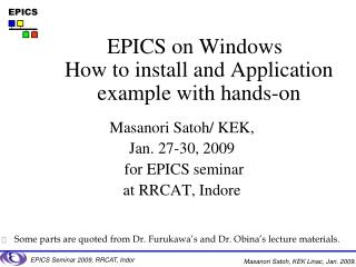 EPICS on Windows How to install and Application example with hands-on