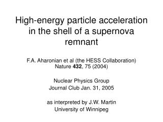 High-energy particle acceleration in the shell of a supernova remnant