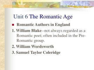 Unit 6 The Romantic Age