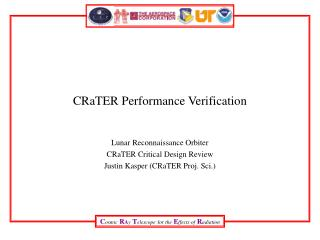 CRaTER Performance Verification