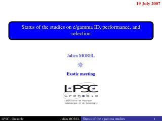Status of the studies on e/gamma ID, performance, and selection