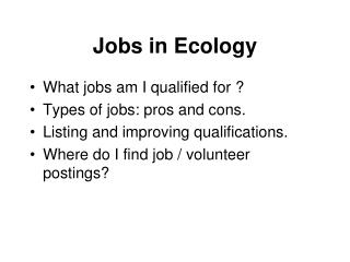 Jobs in Ecology