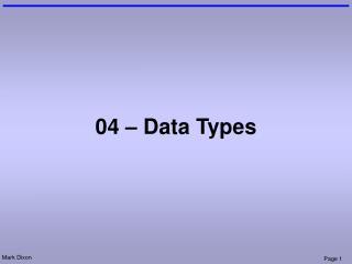 04 – Data Types
