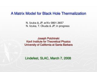 A Matrix Model for Black Hole Thermalization