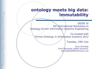 ontology  meets  big data: immutability