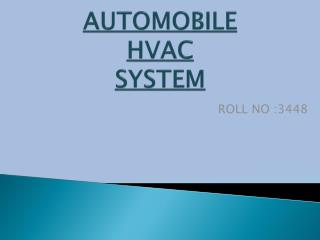 AUTOMOBILE HVAC SYSTEM