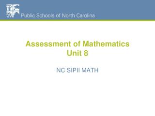 Assessment of Mathematics Unit 8