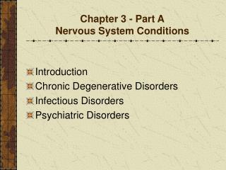 Chapter 3 - Part A Nervous System Conditions
