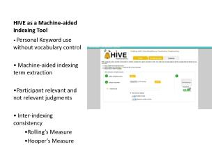 HIVE as a Machine-aided Indexing Tool