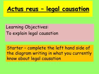 Actus reus  – legal causation