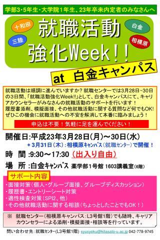 就職活動 強化 Week!!