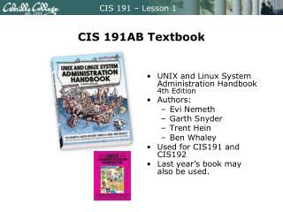 CIS 191AB Textbook
