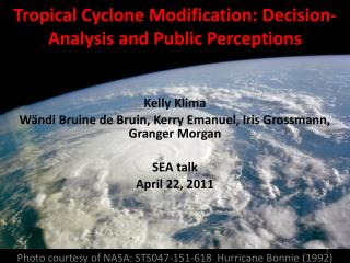 Tropical Cyclone Modification: Decision-Analysis and Public Perceptions