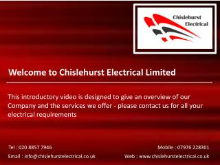 Welcome to Chislehurst Electrical Limited