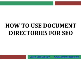How To Use Document Directories For SEO