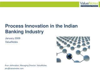 Process Innovation in the Indian Banking Industry