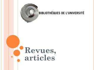 Revues, articles