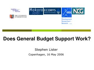 Does General Budget Support Work?