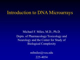 Introduction to DNA Microarrays
