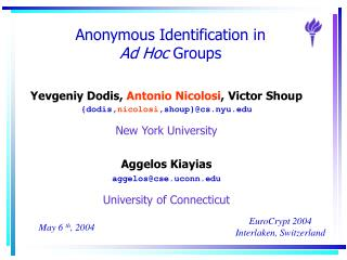 Anonymous Identification in  Ad Hoc  Groups